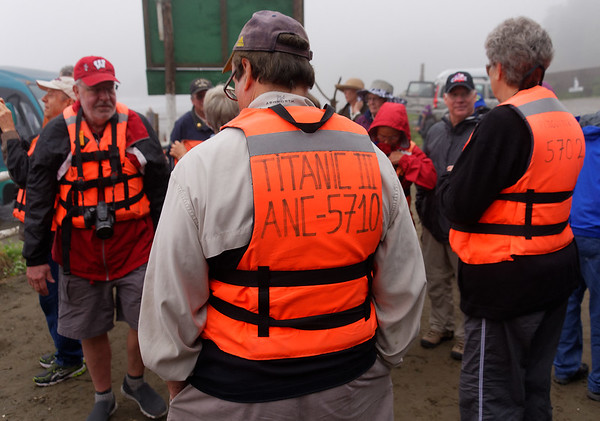 Chiloé Island, Chile - local humor (not Brooks, just the message on the life vest)