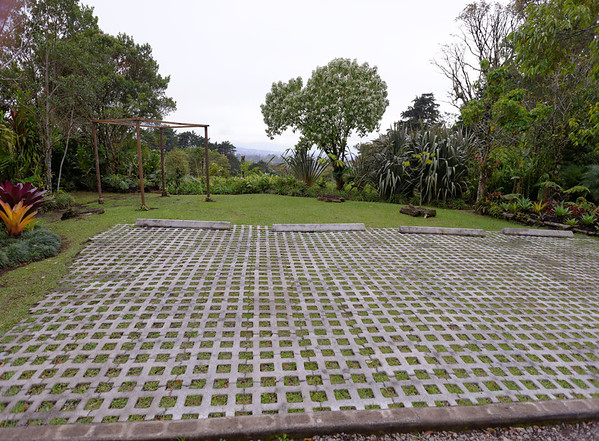 Permeable parking hardscape at Sibú