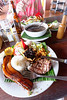 La Fortuna Costa Rica, La Choza del Laureal restaurant, Salad, black bean soup (best ever), and their typical meal