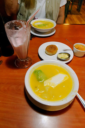 Late lunch (or early dinner) at Raymipampa - locra de papa (potato soup with avocado and queso fresco) and a fresh strawberry shake