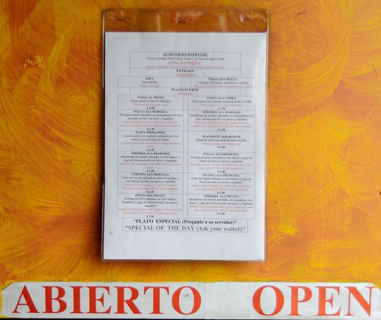 Di Bacco menu