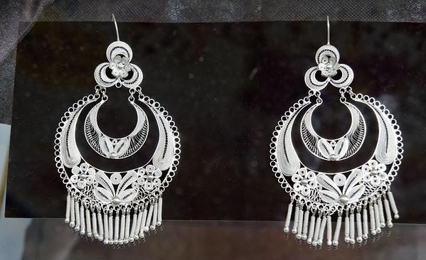 Beautiful filigreed silver earings at the artisans' market