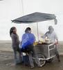 Local street food in the rain