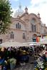 Flower market beside the new church