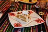 Dessert with the plate decorated by Juan Carlos