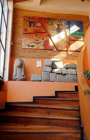 Interior of the museo, Incan blocks
