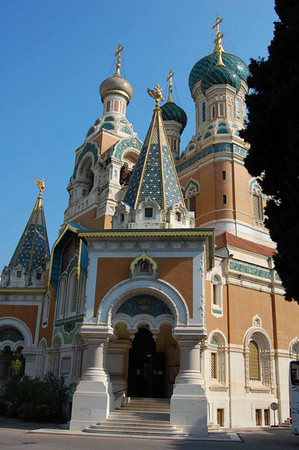 Russian Orthodox Cathedral, front entrance <br /> Nice, France