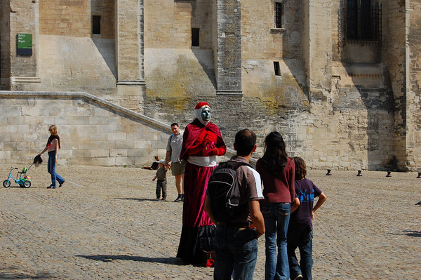 Palace of the Popes <br /> Avignon, France<br /> One of many artful human statues we encountered throughout France.