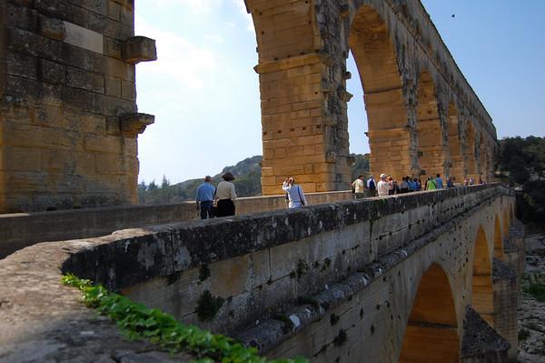 Showing the pedestrian expansion <br /> Pont du Gard, France