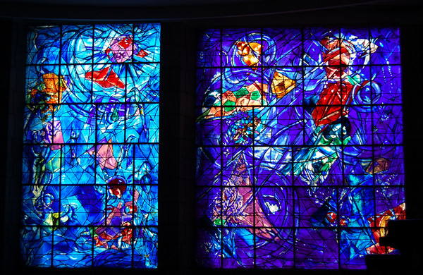 Stained glass by Chagall <br /> Nice, France