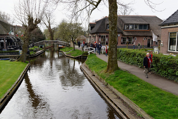 Giethoorn; when the canals freeze over, the town may have up to 30,000 visitors a day, many skating on the ice