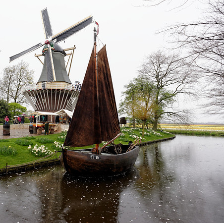 "Keukenhof Gardens; windmill and boat, the ""Starum,"" made before 1904 and reconstructed in 1993"