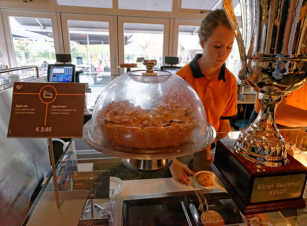 Keukenhof Gardens; cafe, great apple pie and hot chocolate on a cool drizzly day