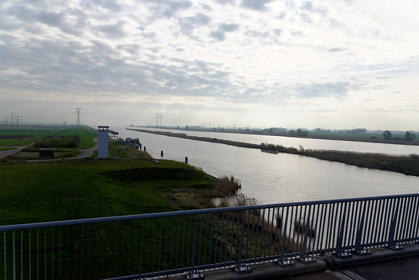 Ramsdiep canal, leading to the North Sea, on our way to Giethoorn
