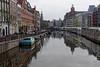 Amsterdam, canal scene, backs of flower shops