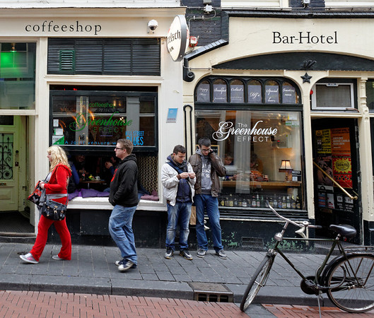 Amsterdam; coffeeshops in the red light district