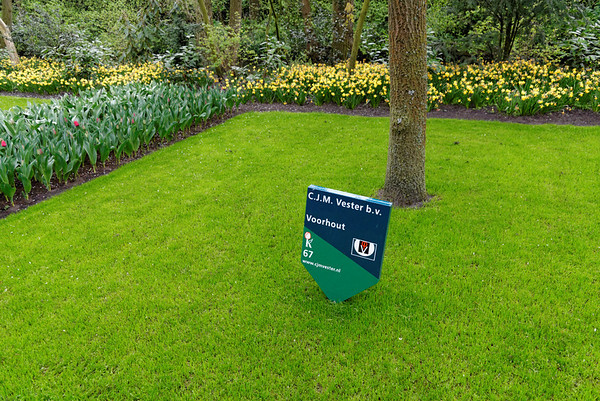 Keukenhof Gardens; sign indicating the growers of the flowers being shown