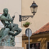 Zagreb - statue and lamplighter-lit light