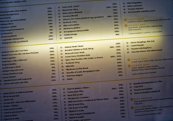 Szentendre - lunch at the Golden Dragon, menu