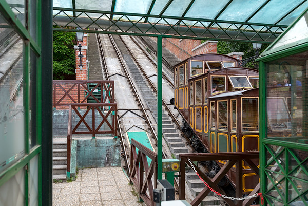 Budapest - walk back to our hotel, the funicular