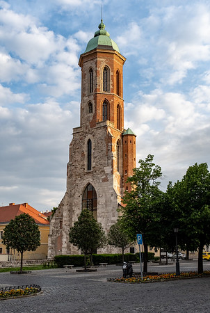 Budapest - Tower of the Church of Saint Mary Magdalene at sunset