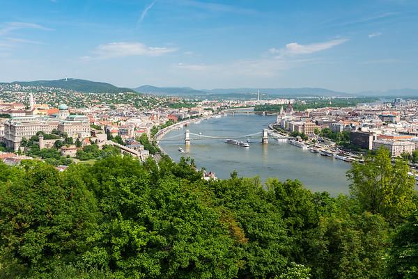 Budapest - boat passing under the Chain Bridge