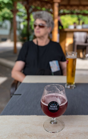 Budapest - quick stop for beer and fries; this is cherry beer