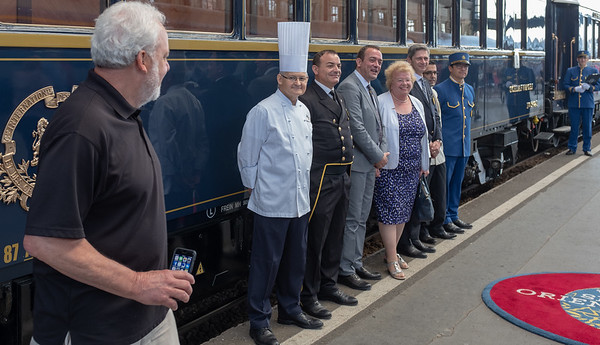 Orient Express - Budapest station, Terry and staff, mostly from Italy and France (the chef is very French)