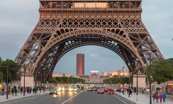 Paris - Eiffel Tower framing the Montparnasse Tower