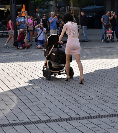 Prague - pushing a baby carriage in style
