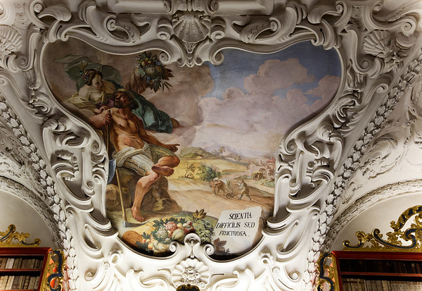 """Strahov Library, Theological Hall, """"Science is difficult but fruitful"""""""