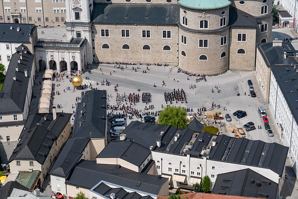 View of marching bands below in Salzburg