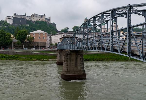 Salzburg - Mozart bridge over the Salzach River, Hohensalzburg Fortress