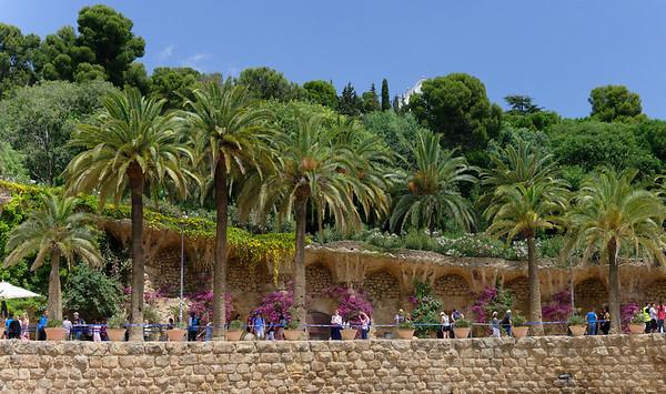 Barcelona Catalonia Spain – The Park Güell The terrace walls