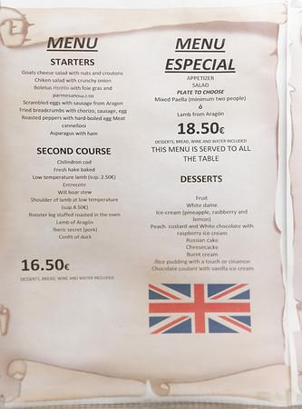 Bielsa Aragón Spain - Cafeteria-Restaurante Los Valles, menu