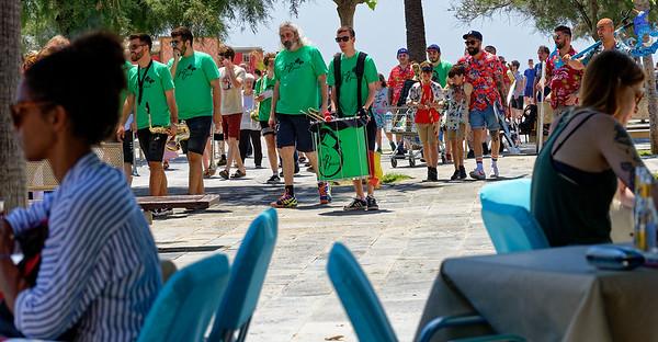 Barcelona Catalonia Spain – Barceloneta Beach, band day