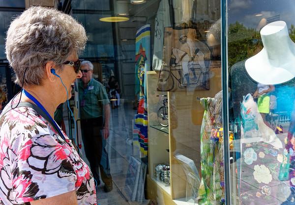 Barcelona Catalonia Spain – Suzanne admiring a window display