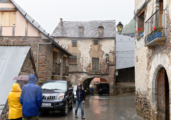 Gistaín Aragon Spain - headed for that arch for shelter as the rain really came down