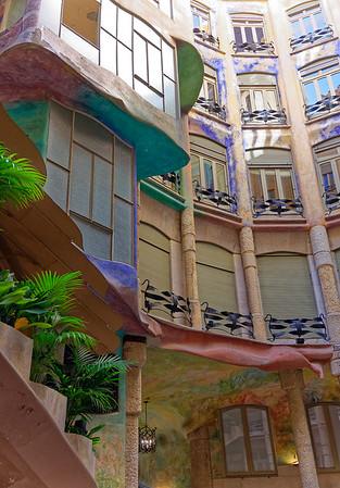 Barcelona Catalonia Spain – Casa Milà Interior courtyard