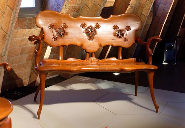Barcelona Catalonia Spain – Casa Milà Gaudí's furniture, designed for the house.