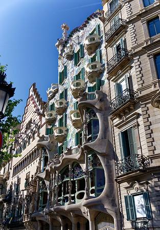 Barcelona Catalonia Spain – Casa Amatller and Casa Batlló along Passeig de Gràcia.