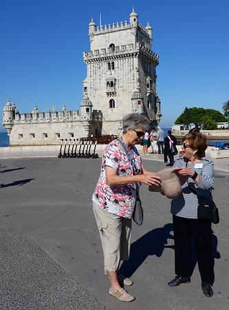 Lisbon Portugal Suzanne S and Sherrie share a moment