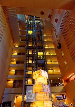 Meliá Bilbao Spain - glass elevator and rooms