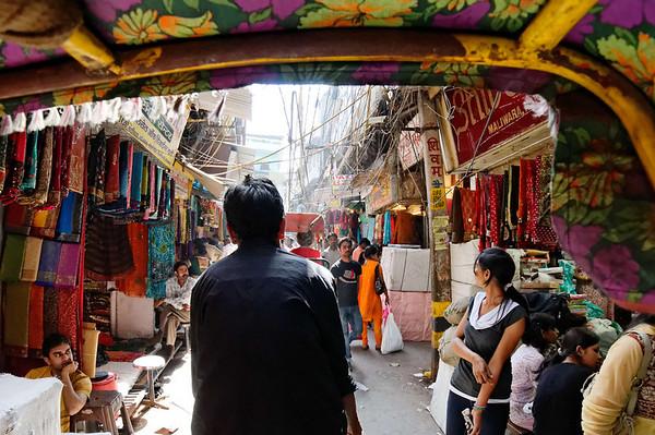 Textiles, rickshaw ride, Delhi