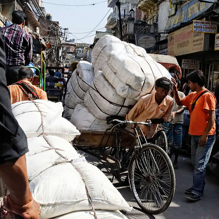 Big load, narrow streets, rickshaw ride, Delhi