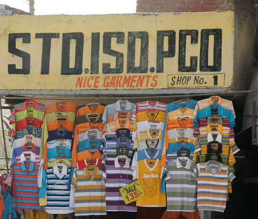 Street scene, shirts for about $3 USD