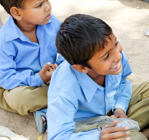 Barely contained joy over uniform, Neemrana, on the road to Jaipur