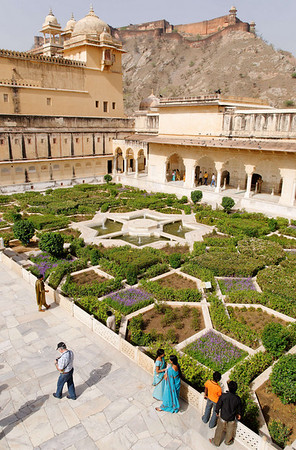 A baradari stands at the center of the spectacular courtyard surrounded by ladies apartments and frescoes depicting Krishna-lila scenes. Amber Fort, Jaipur
