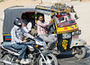 And a 3-wheeler decked out, on the road to Jaipur