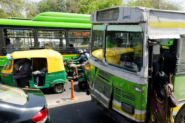 Bus, city street scene, Delhi